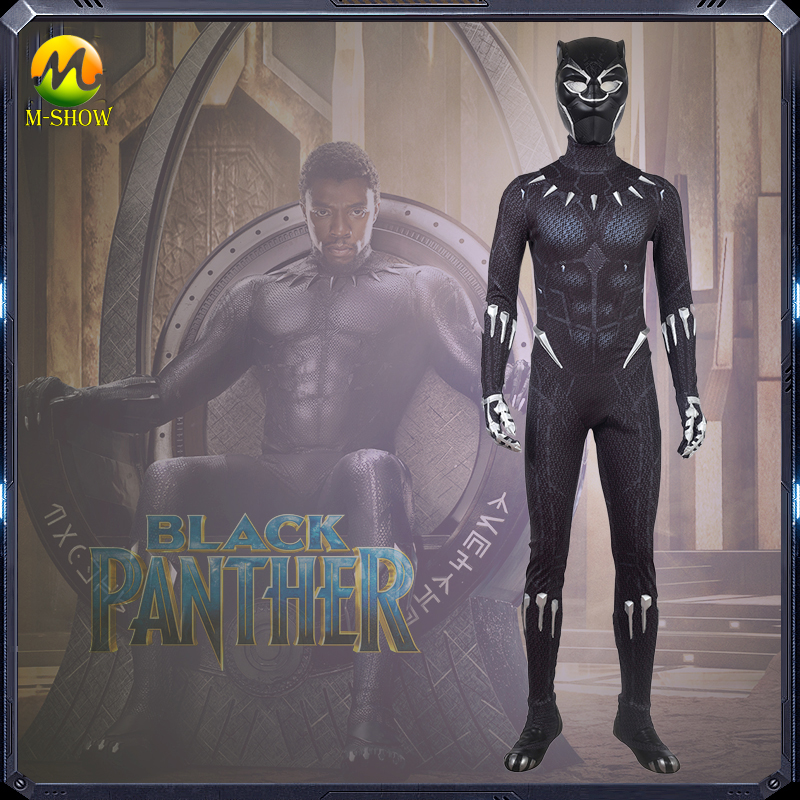 Black Panther Cosplay Costume Avengers 3 Black Printing Black Panther Bodysuit For Adult Men Halloween Party