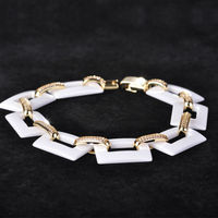 Chic Handmade Square Link Chain Ceramic Bracelet Wrist Jewelry For Women Men New Year Golden Copper Rhinestone CZ Fine Pulseras