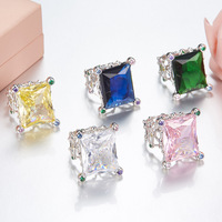 fashion big square crystal ring ,925 sterling silver pink yellow white blue green glass crystal ring famous brand jewelry