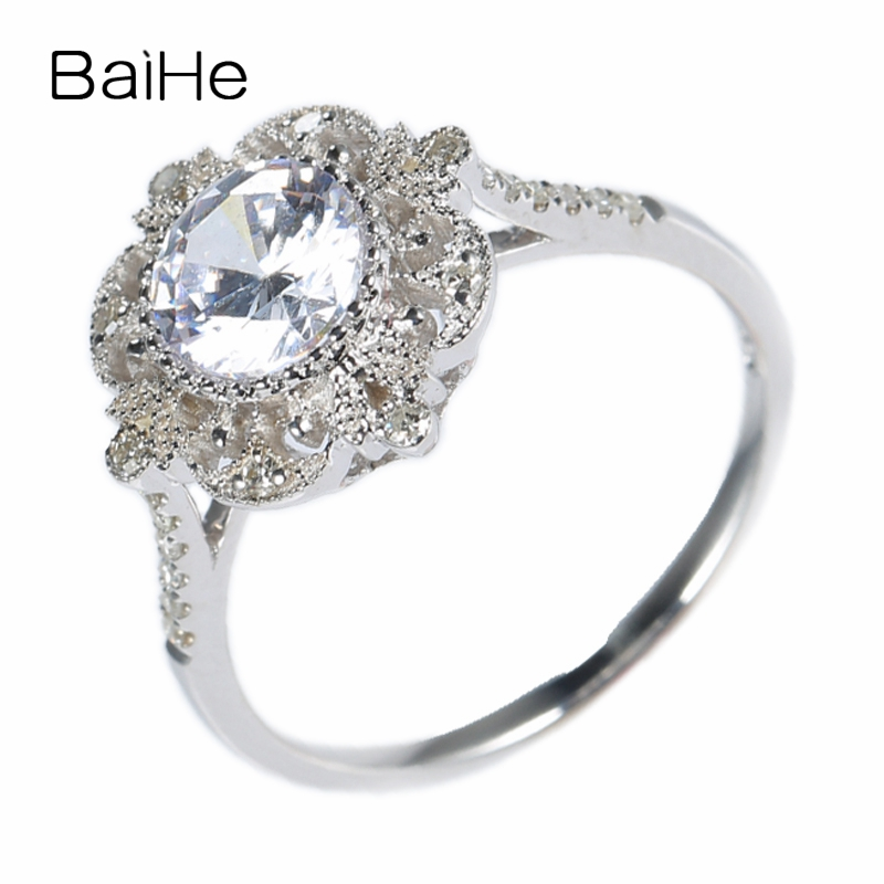 BAIHE Sterling Silver 925 Round Cut 100% Natural White Topaz White Gold plated Antique Trendy Engagement Wedding Gift Women Ring