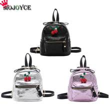 New Cute Cherry Burst Pattern PU Leather Backpacks Simple Fashion Women Girls Mini Zipper Shoulder Schoolbag(China)