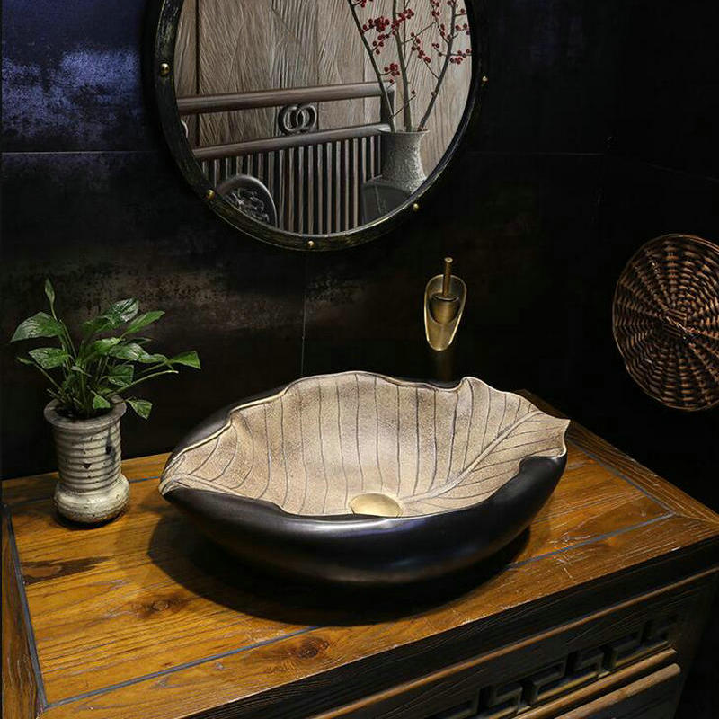 Bathroom Sink Wash-Basin Leaf-Like Irregular-Ceramic Countertop Handmade MAEBOW Primitive-Style