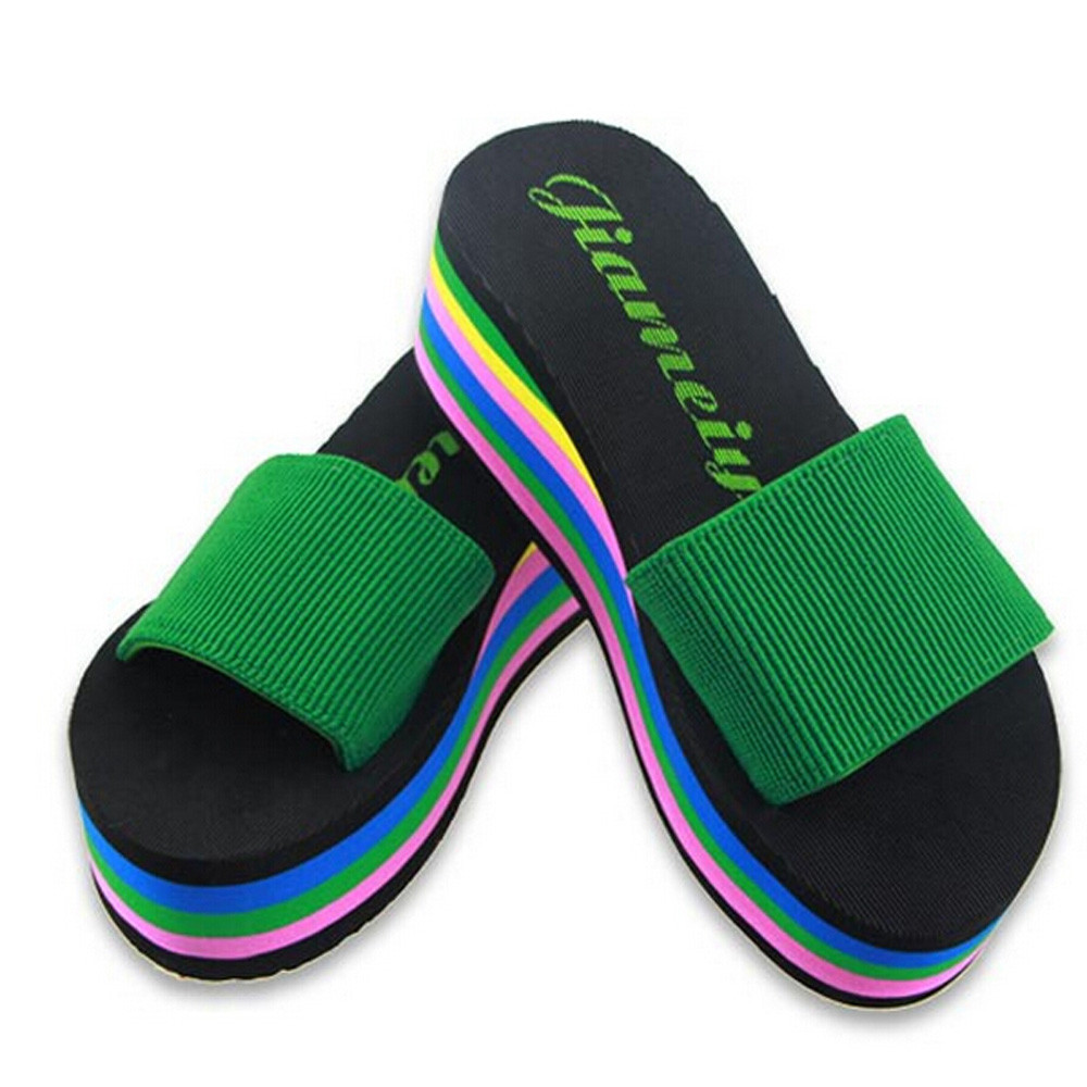 Sleeper #402 2019 NEW Women Rainbow Summer Non-Slip Sandals Female Beach Slippers With Platforms charm home outdoorFree Shipping