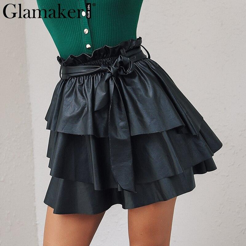 Glamaker Ruffle bow black pu leather skirt Sexy winter autumn