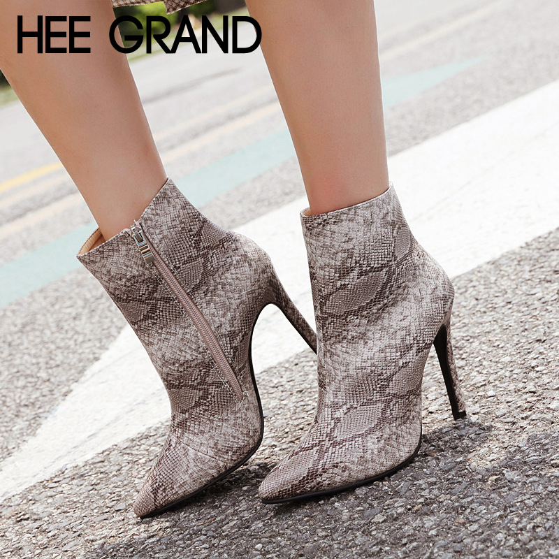 HEE GRAND Women Snake Solid Color Winter Boots Sexy Ankle Boots Pu Leather Thin Heels Boot Shoes Woman Plus Size 35-42 XWX6842 hee grand women ankle boots for 2017 new autumn solid pu pumps shoes pointed toe high heels boot shoes woman size 35 43 xwx4253
