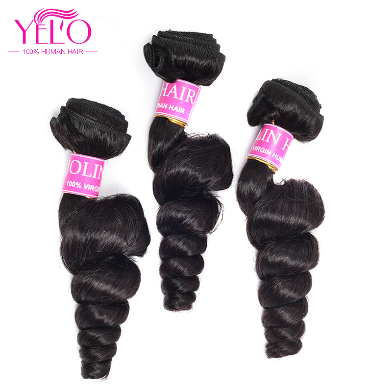 YELO Brazilian Loose Wave 3 Bundles None Remy Human Hair Extensions Natural Color 100% Human Hair Weaves Free Shipping