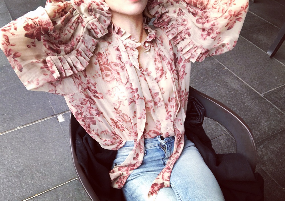 2019 spring women Lace printed long sleeve chiffon shirt