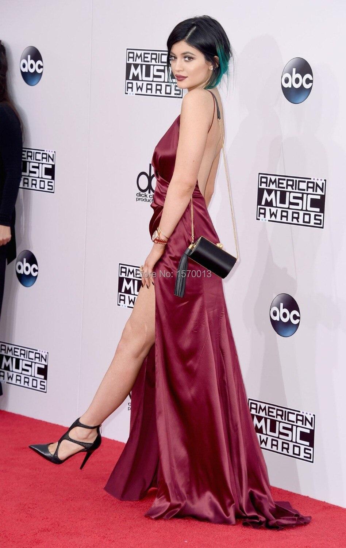 Sexy Backless Mermaid Kylie Jenner Celebrity Dresses 2015 Deep V neck High  Split Party Gowns Hot Designer Red Carpet Dresses-in Celebrity-Inspired  Dresses ... 3a7a6ec4df31