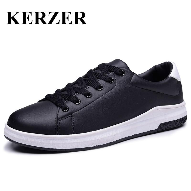 Prix pour KERZER 2017 Chaude Hommes Skateboarding Sneakers Noir Blanc Skate Board Homme Chaussures de Marche Toutes Les Saisons Hommes Sport Chaussures Pas Cher