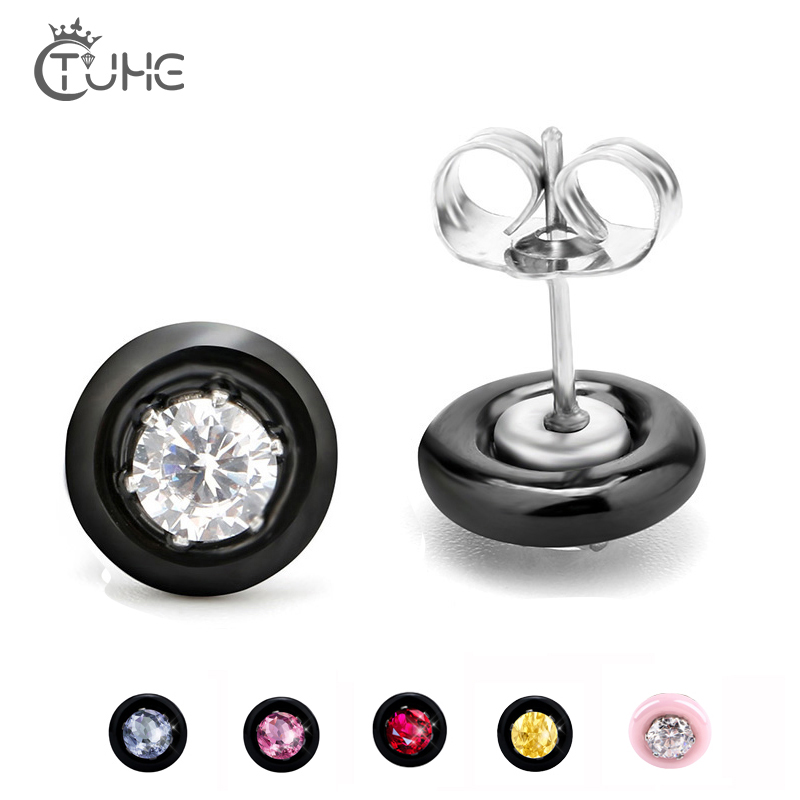 Fashion Wedding Stud Earrings Black White Pink Ceramic With Colorful Crystal Big Carat AAA Health Ceramic Round Zirconia Earring