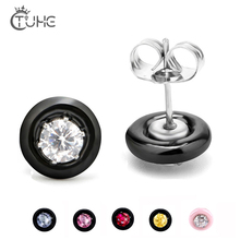 Fashion Wedding Stud Earrings Black White Pink Ceramic With Colorful Crystal Big Carat AAA Health Round Zirconia Earring
