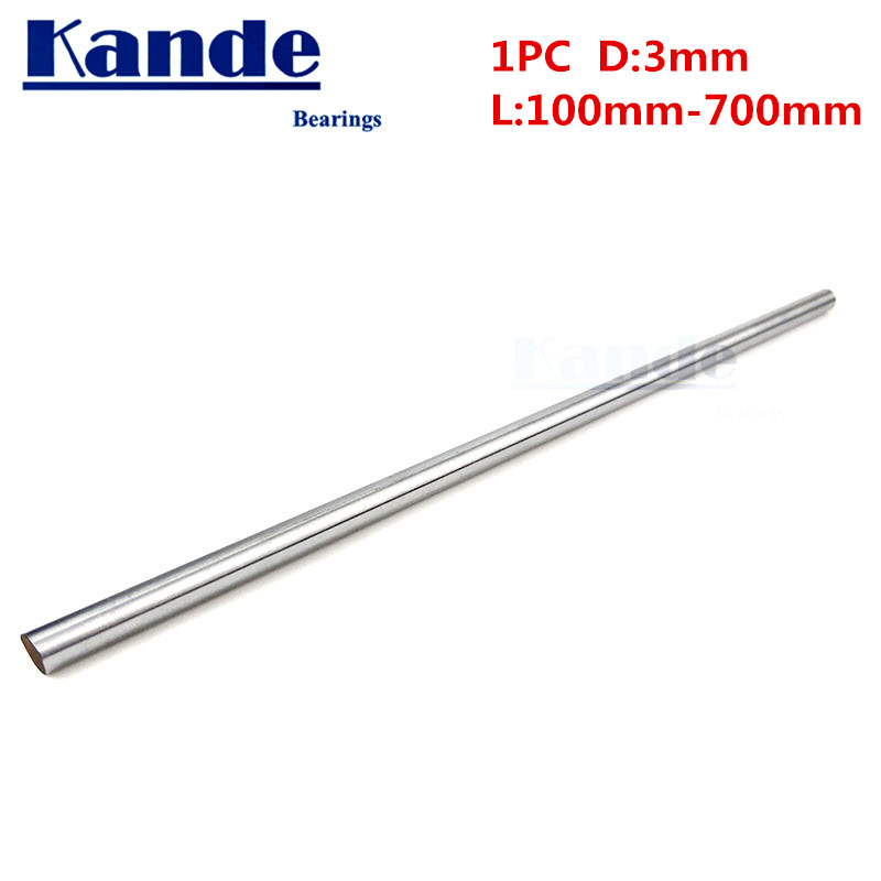 Kande Bearings 1pc d: 3mm  3D printer rod shaft 3mm  linear shaft chrome plated rod shaft CNC parts 230mm 100mm 100-600mmKande Bearings 1pc d: 3mm  3D printer rod shaft 3mm  linear shaft chrome plated rod shaft CNC parts 230mm 100mm 100-600mm