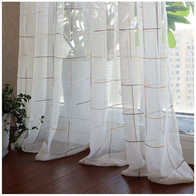 US $5.19 34% OFF|Plaid Gauze Modern Sheer Curtains Bedroom Balcony Living  Room Versatile Color Lattice Window Screen Flax Fabric Tulle Fashion-in ...