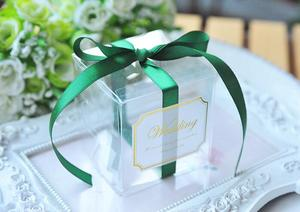 Image 5 - 5x5x5cm PVC Clear Candy Boxes Wedding Decorations Party Supplies Gift Box Baby Shown Favors Candy Box with Ribbon