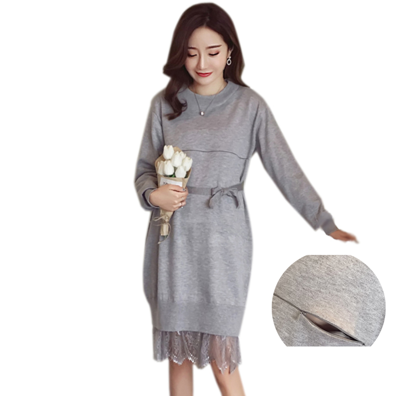 2018 Maternity Nursing Sweater Dress Knitted Lace Splicing Long Pullovers Spring Autumn Pregnant Dress Breast Feeding Clothes knitted sweaters sets spring autumn nursing dress breastfeeding maternity clothes for pregnant woman striped lactation feeding