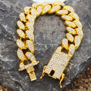 Image 5 - 2cm HipHop Gold Color Iced Out Crystal Miami Cuban Chain Gold silver color  Necklace & Bracelet Set  HOT SELLING THE HIPHOP KING