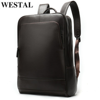 WESTAL 100% Genuine Leather Men's Backpack men Male Business bag schoolbag man fashion men's backpacks for male Leather 8110