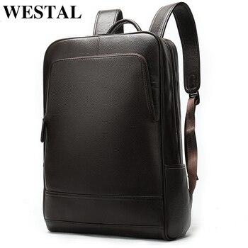 52c57c018 WESTAL de 100% de cuero genuino de los hombres mochila de hombres de  negocios bolsa mochila de hombre de moda de los hombres mochilas para hombre  de cuero ...