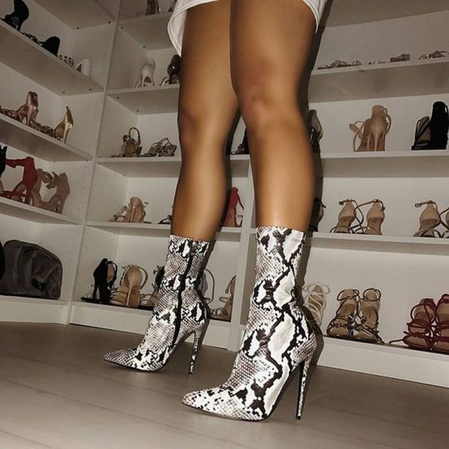 cf2322ff6 Boussac Sexy Snake Print High Heel Women Boots 41 42 Size Pointed Toe Sock  Boots Women