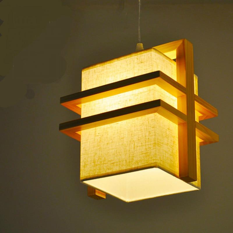 ФОТО modern Nordic Minimalism Chinese Linen Wooden Led E27*1/2 Heads Pendant Lamp For Dining Room Restaurant Tea House Deco 2229