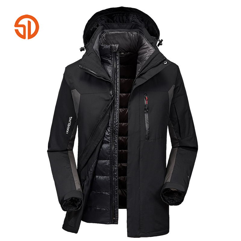 Solid Outwear Men's Mountain Clothes 3 in 1 Systems Jacket And Coat Men Winter Warm Puffer Jacket Outdoors Sportting Jackets