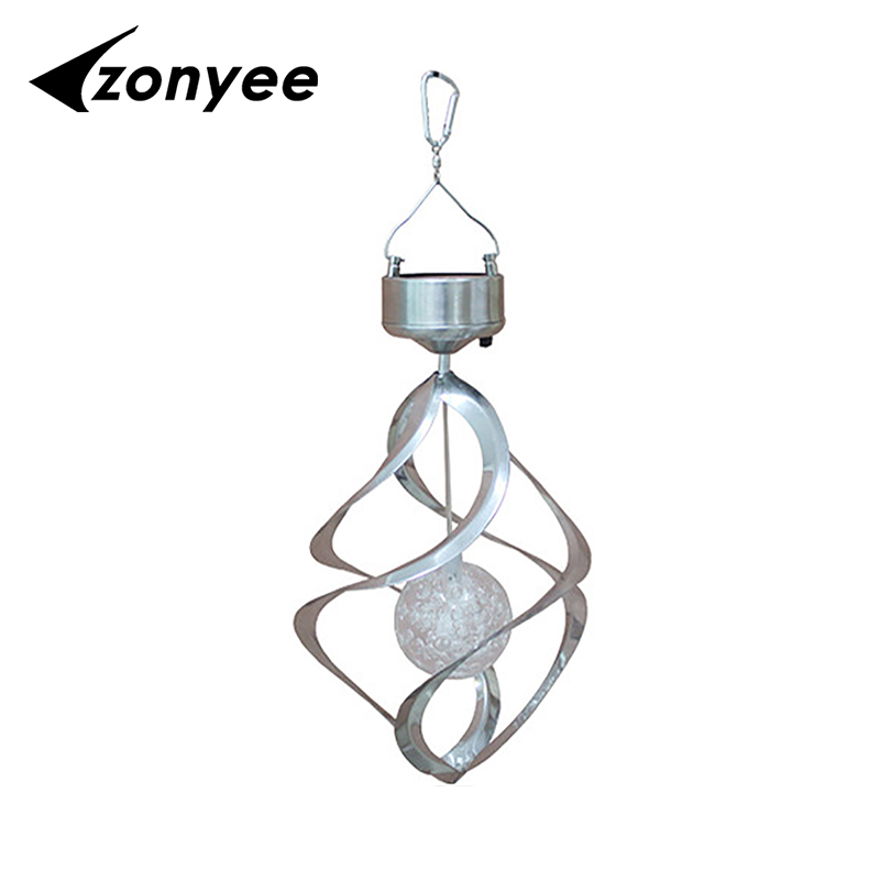 Zonyee Color Changing Solar Powered LED Wind Chimes Wind Spinner Outdoor Hanging Spiral Garden Light Courtyard Decoration solar color changing led hanging wind spinner lamp for courtyard