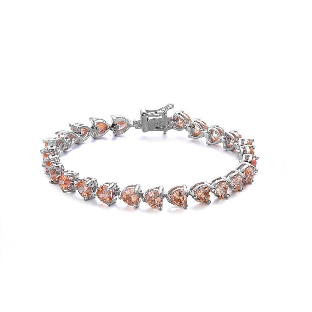 Aceworks 925 Bracelet en argent Sterling Orange zircon cubique lien Bracelets de mariage cadeau d'anniversaire pour les femmes filles mère BC4125