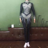 Черный Стекло дрель Одежда для танцев боди джазовая одежда для женщин костюмы выступлений Dj для певицы для сцены наряд комбинезон DJ394