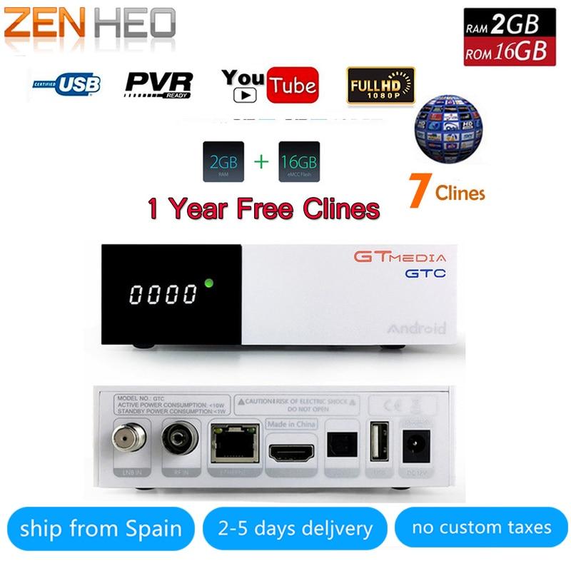 все цены на GTC Satellite Receiver DVB-S2 DVB-C DVB-T2 ISDB-T Amlogic S905D android 6.0 TV BOX 2GB RAM 16GB ROM BT4.0 +1 Year 7 Clines онлайн