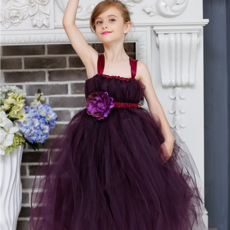 2018 Top quality Princess Flower Girl Dresses Purple Flower 2-12Year elegant Draped Ball Gown Evenning Dress Children Birthday 2018 top quality and noble flower girl dresses calcined flower flower 2 12year pretty draped ball gown evening dress kids prom