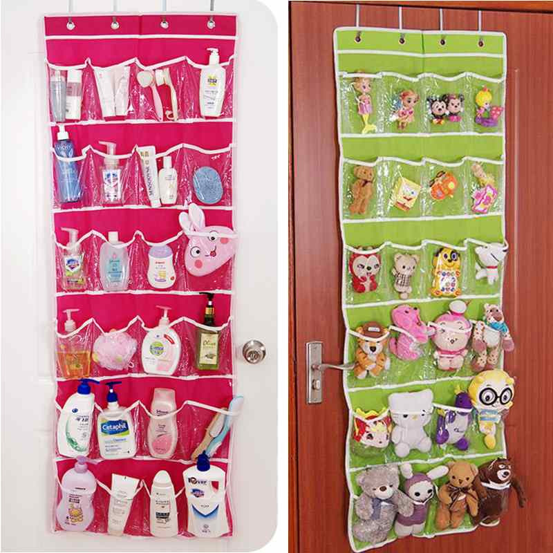 Hot sale New 24 Pockets Clear Over Door Shoe Rack Tidy Organizer Cloth Hanging Storage Bag