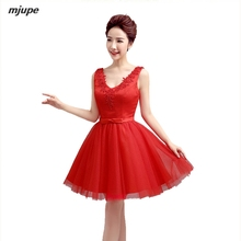 short prom dresses real photo deep v neck red satin bandage knee length gowns