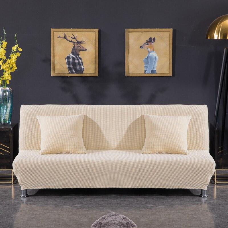 Funda de sofácama sin brazos de tela polar tamaño Universal fundas elásticas Protector de sofá barato cubierta de futón de Banco elástico Universal de doble sofá sin brazos cubierta de cama asiento plegable funda moderna stretch cubre el sofá barato Protector elástico sofá cubierta