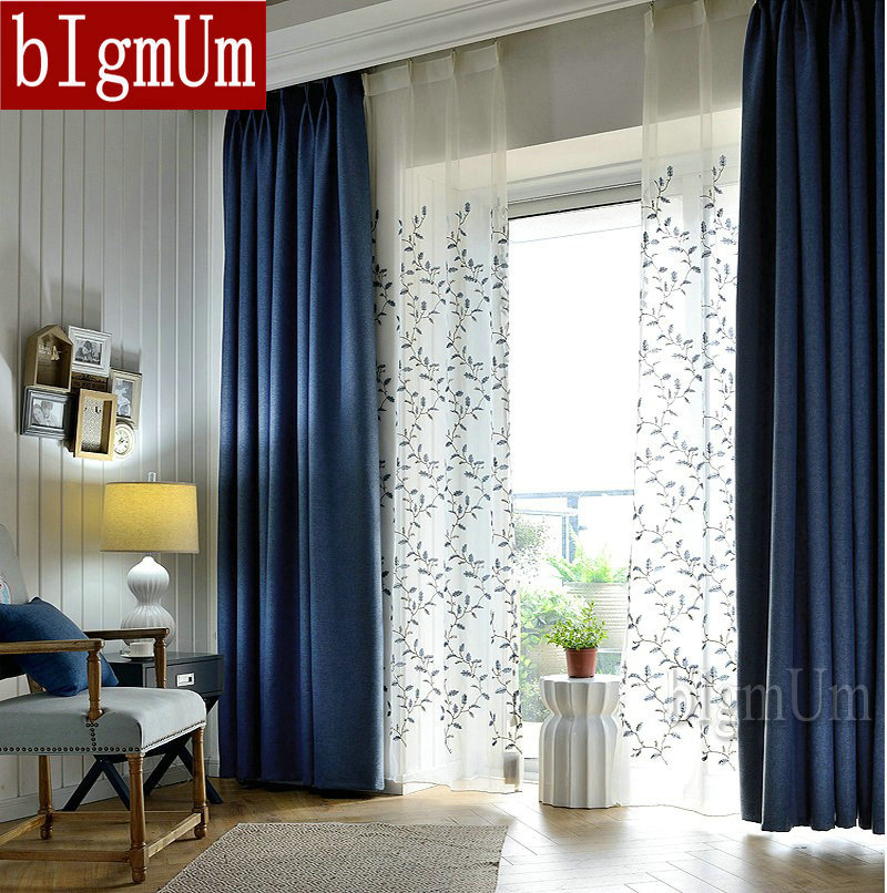 embroidered linen pastoral blackout curtains for living