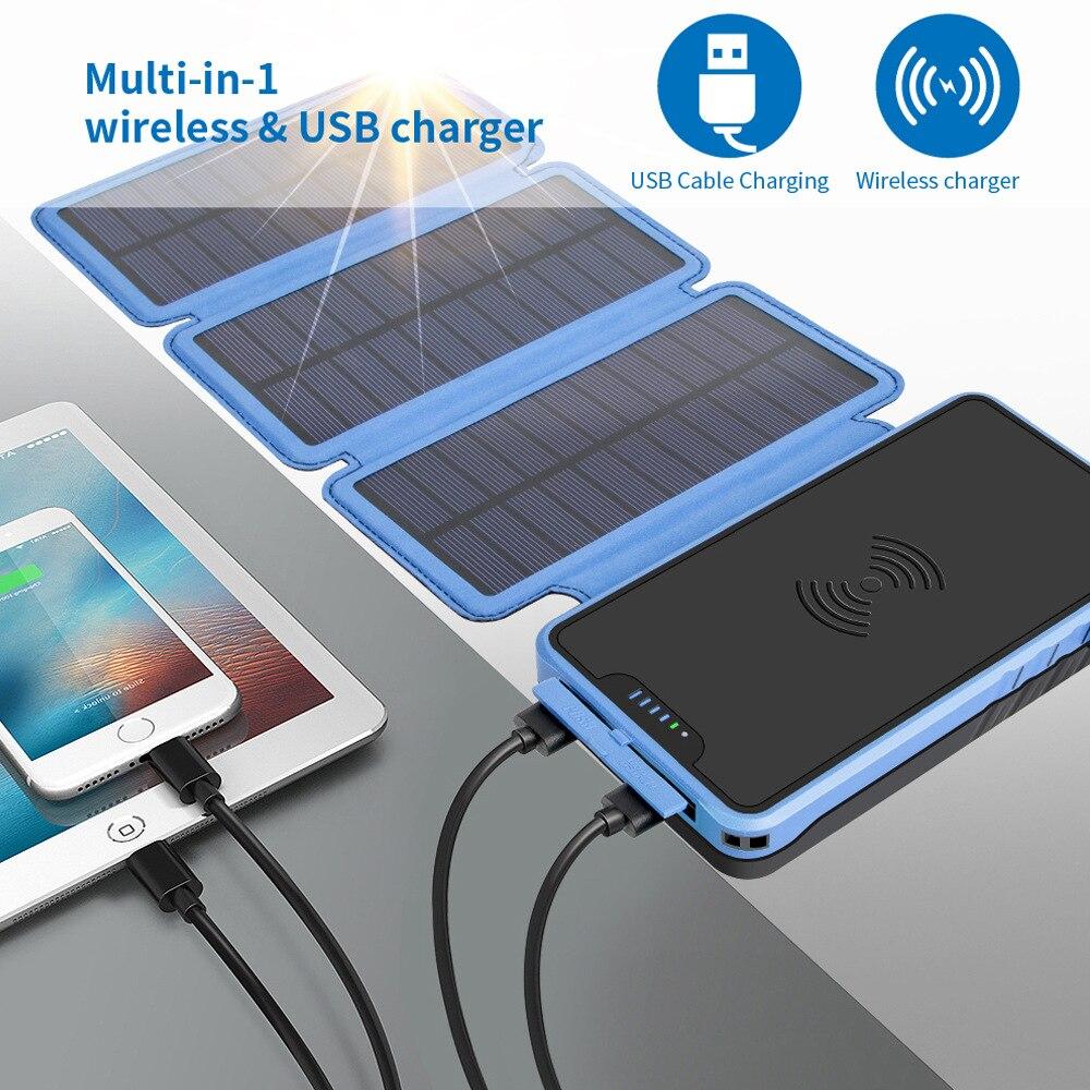 2019 Qi chargeur Portable sans fil batterie externe 20000 mAh lumière LED batterie externe solaire pour iPhone X samsung xiaomi honour