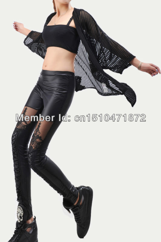 2014 New spring autumn fashion sexy high elastic faux fur leather lace knitting disco pants, for women's and girl's leggings