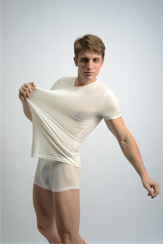 SHINO Sexy Men Stripe Tops Sexy Underwear Fashion Men's Sleep Tops Cotton Short-Sleeved O-Neck High Quality FX27