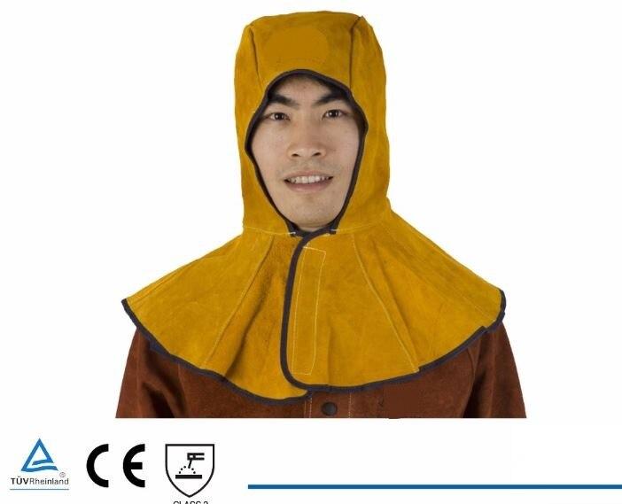 Welding Cap Premium Leather Welder Hood Hat Split Cowhide Cotton Mesh Lining Anti Fire Stitched 39X50 Golden Color CE UL [randomtext category=