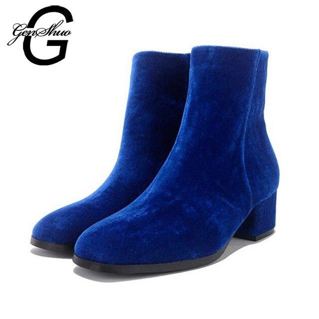 Women's Warm Chunky Mid Heel Velvet Lining Short Boots