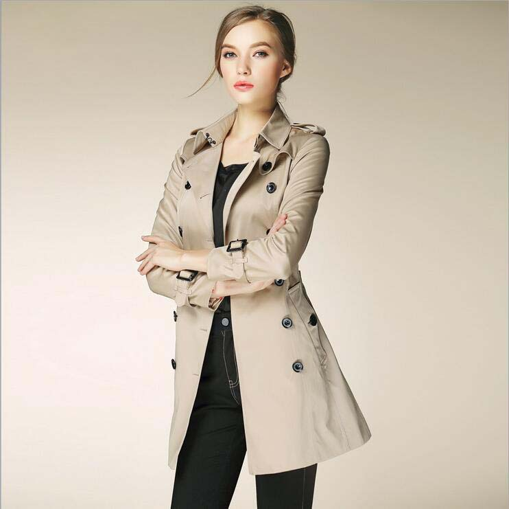 Ladies Coats Women 2017 London Fashion Designer Brand Classic European Trench Coat Hin Thin