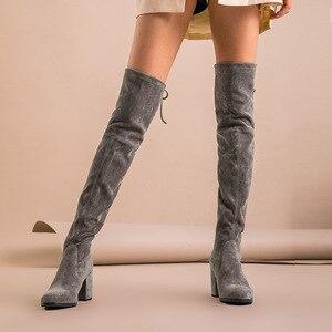 Image 4 - BeauToday فوق الركبة أحذية النساء طفل جلد الغزال تمتد النسيج عالية الكعب أعلى جودة سيدة الشتاء أحذية طويلة اليدوية 01011