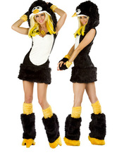 Free Shipping Halloween Costume Sexy Animal Costume Adult Penguin with Leg warmer Costume Women Cosplay(China)