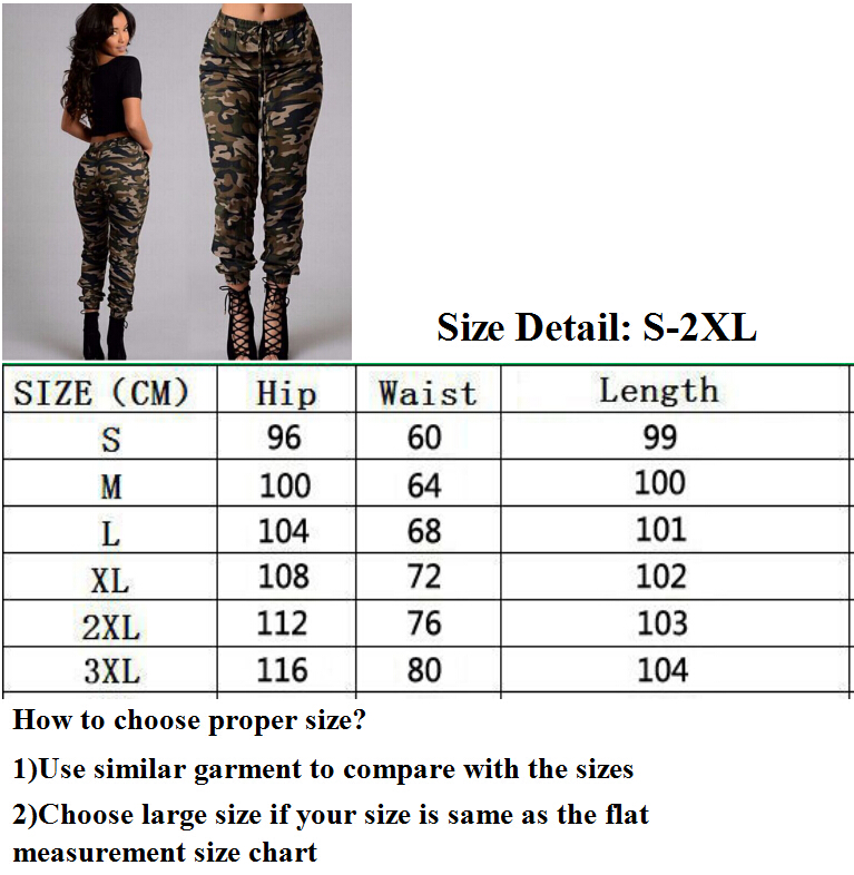 2019 New Stylish Women Camouflage Pants Camo Cargo Joggers Military Army Harem Trousers 7