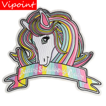 embroidery rainbow unicorn patches for jackets,large badges jeans,appliques backpack,A306