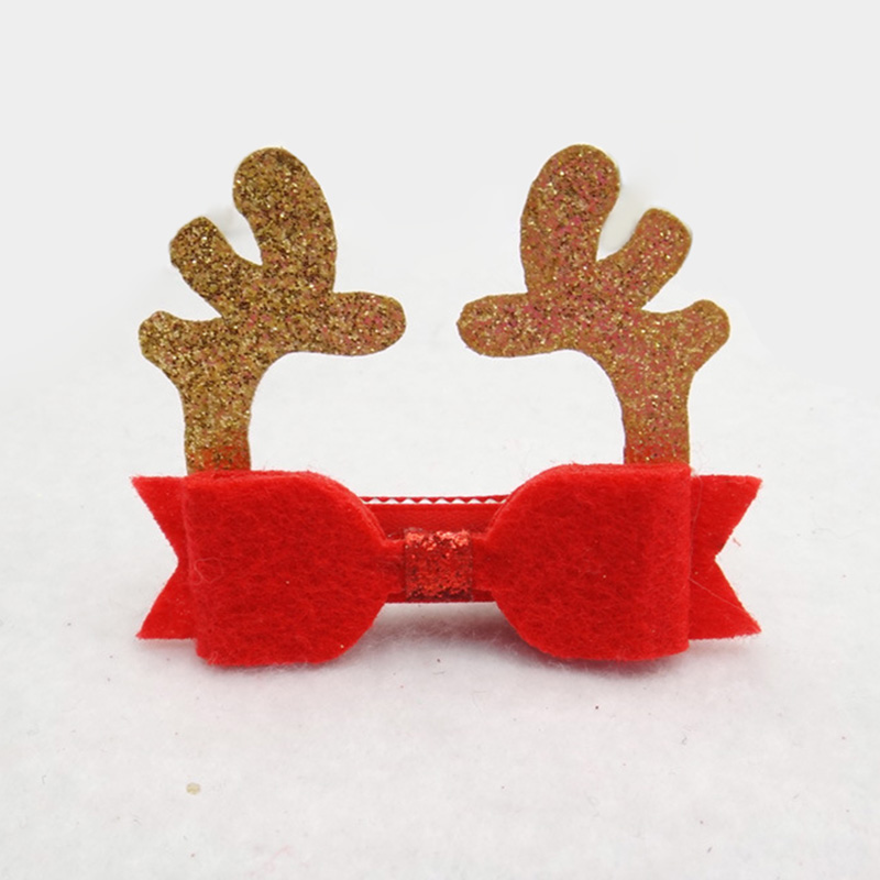 Wholesale Assorted Christmas Red Bow Deer Antler Hat Hair Clips Kids Snap Clip Glitter Hair Accessories for Girls