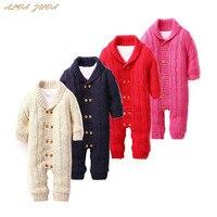 Newborn Baby Thickening Fleece Rompers Cotton Solid Infant Boys Girls Winter Warm Jumpsuit Cyy159