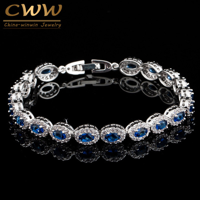 Cwwzircons Exquisite White Gold Color Cubic Zircon Inlaid And Royal Blue Stone Women High Quality Bracelets