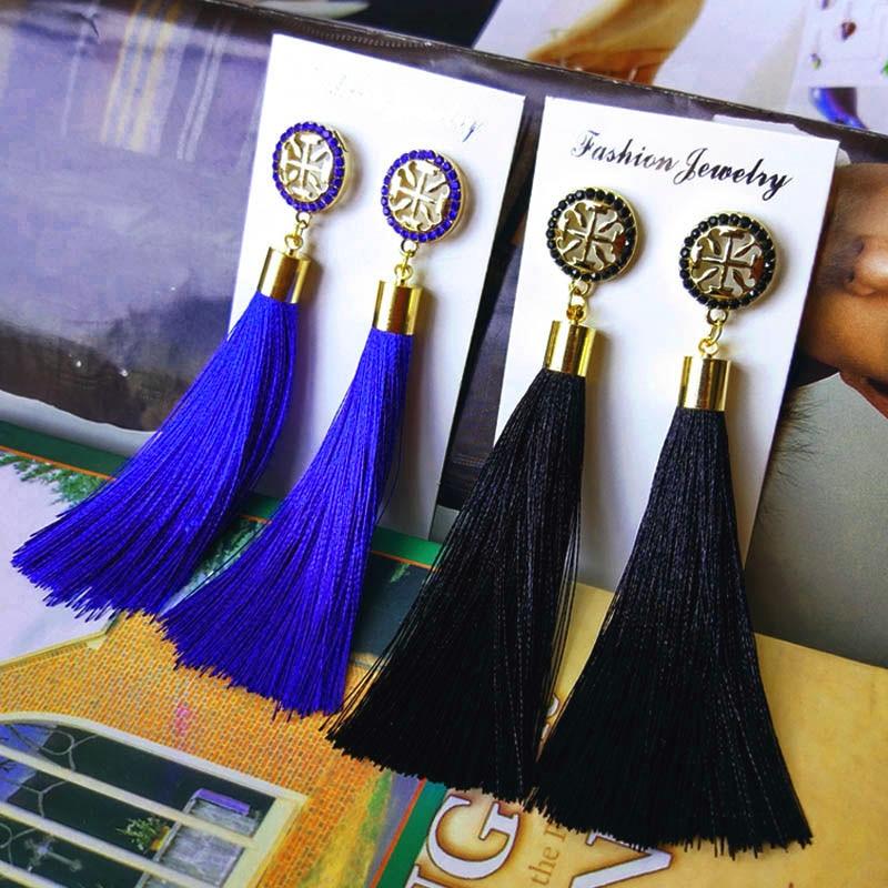 2019 New Women Tassel Earrings Boho Bohemian Long Exaggerated Silk Fabric Dangling Earrings For Women Orecchini Lunghi Oorbellen