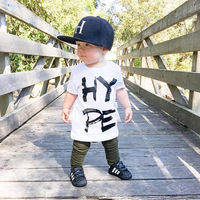 Europe And America Summer Baby Children S Suit English Alphabet Short Sleeve Trousers Two Piece Children