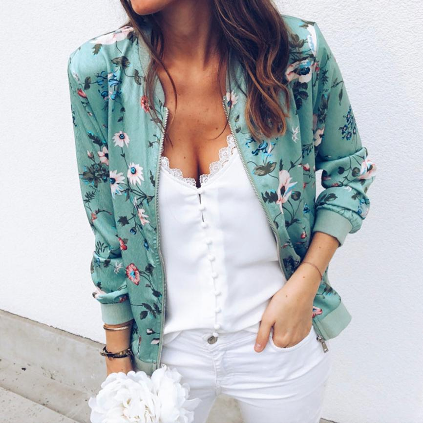 Outerwear & Coats Jackets Womens Ladies Retro Floral Zipper Up Bomber Outwear Casual coats and jackets women 18AUG10 6